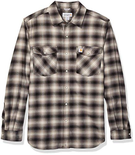 Carhartt Men's Rugged Flex Hamilton Snap Front Plaid Flannel Shirt (Regular and Big & Tall Sizes), Shadow, Large/Tall