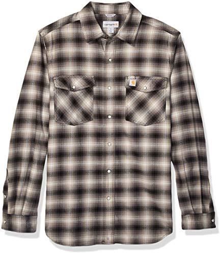 Carhartt Men's Rugged Flex Hamilton Snap Front Plaid Flannel Shirt (Regular and Big & Tall Sizes), Shadow, 2X-Large