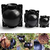 Plant Root Growing Ball, 3 Pack 8cm High Pressure Reusable Botany Rooter Grafting Box to Assisted Plant Rooting- Asexual Reproduction Device for Plants Root Fast Growth (3pcs Middle, Black)