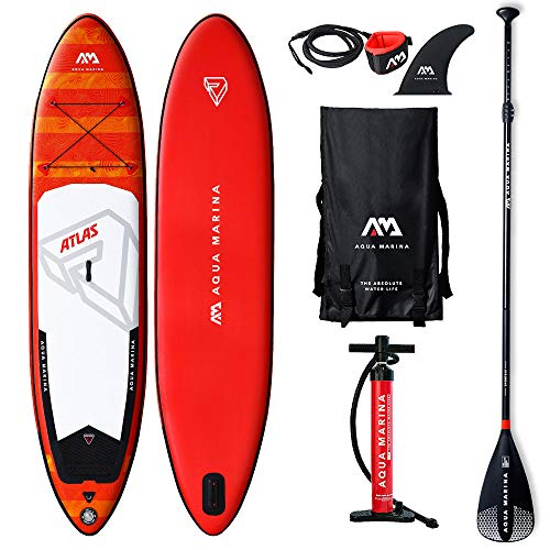 Aqua Marina Aquamarina Atlas SUP - Stand Up Paddle Board met peddel, lijn, Magic Back Pack, en Double Action Pomp, meerkleurig, L
