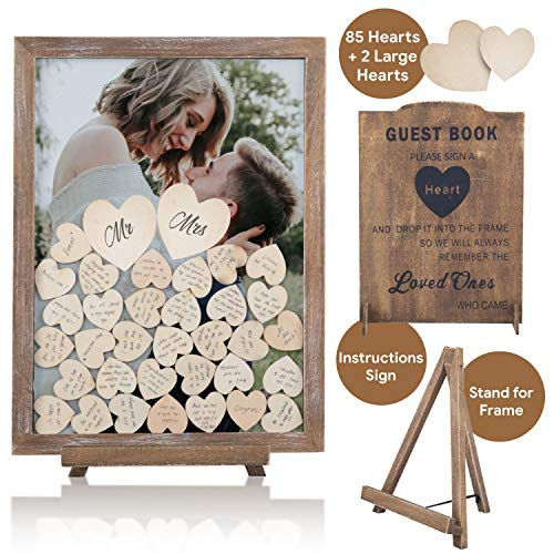 GLM Wedding Guest Book Alternative Drop Top Frame with Display Stand, 85 Wooden Hearts, 2 Large Hearts, and Sign Alternative Guest Book Set Shadow Box for Wedding, Baby Shower, Anniversary (White)