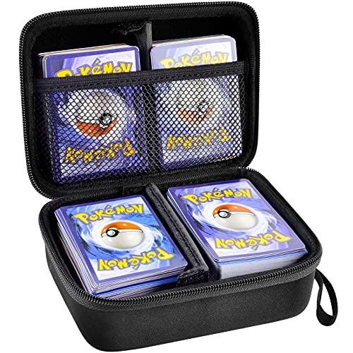 Soporte para tarjetas compatible con tarjetas PM TCG y todas las tarjetas surtidas. Organizador de juegos de tarjetas con capacidad para más de 400 tarjetas. Portabebinas de almacenamiento con 2 divisores extraíbles y correa de mano (solo caja).