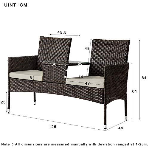 Anderlay 2 zitplaatsen tuinrotan stoel campanion stoel met gehard glas salontafel verwijderbare kussens buiten rieten | tuinmeubelen set met waterdichte PE rieten duurzame stalen frame