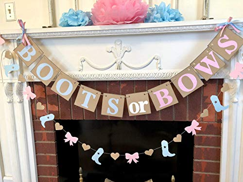 Boots or bows Gender Reveal decorations/Boy or Girl Western Baby Announcement/Rustic Baby Shower Decor/Boots or Bow Banner