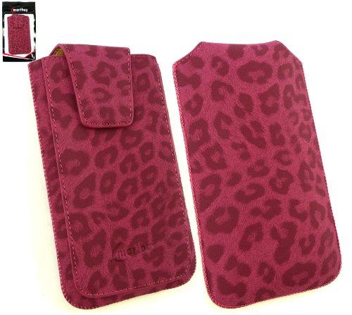 Emartbuy® Classic Range FauxWildlederLeopard Rosa Tasche Hülle Schutzhülle Case Cover (Size 5XL) Mit Ausziehhilfe geeignet für Allview P6 QMax Smartphone