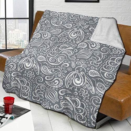 vilico Throw Blanket Fleece Baby Blankets for Boys Girls Kids,Soft Warm Cozy Blanket Fit Couch Bed Sofa,40x50 inches - Festooned Feathered Friends Bird Paisley Grey