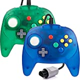 miadore 2 Pack Classic N64 Controller, Wired N64 Retro 64-bit Mini Gamepad Remote with Upgraded Japan Joystick for Ultra N64 Console Video Game System ( Blue/Green )