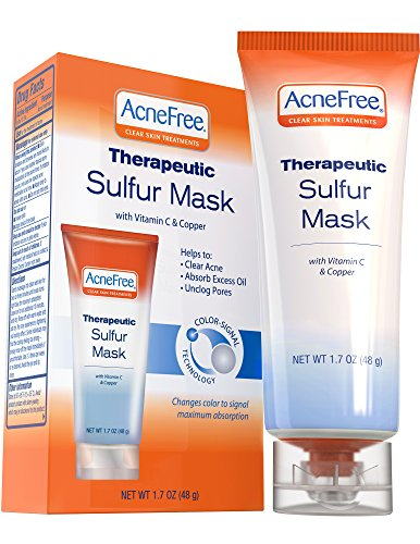 Acne Free Sulfur Mask 1.7 oz Acne Treatment for Clearing Acne, Absorbing Excess Oil and Unclogging Pores with Vitamin C and Bentonite Clay