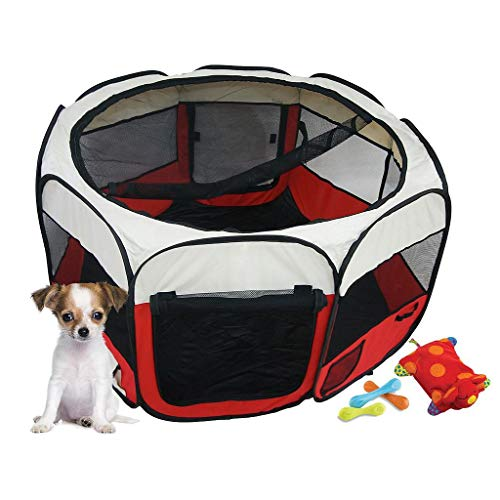 Todeco Laufstall für Haustiere, Park für Kleintiere - Material: PVC-Beschichtetes Polyester - Durchmesser: 125 cm - Rot