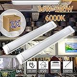 Jandei - Lot de 2 réglettes Led mince, 40W 3600 lum blanc froid 6000K pour cuisine, bureau, atelier, 185 /240V ac pour interieure
