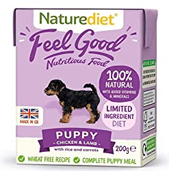 PUPPY - CHICKEN & LAMB, RICE & CARROTS. Complete and balanced nutrition - drinking water should be available at all times and chewing/gnawing items made available for dental hygiene. Certified holistic and naturally moist dog food Wheat gluten free. ...
