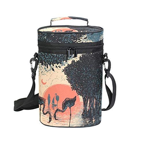 Montoj Mangrove Forest Flamigo Sonnenuntergang Malerei Tragbare 2 Flaschen gepolsterte vielseitige Weinflaschen Kühltasche Isolierte Weintasche