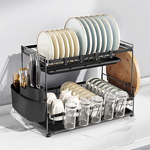 Estante de escurridores de platos con bandeja de goteo, plato de 2 niveles con soporte de utensilio, soporte de tabla de cortar y escurridor para platos para contador de cocina, negro