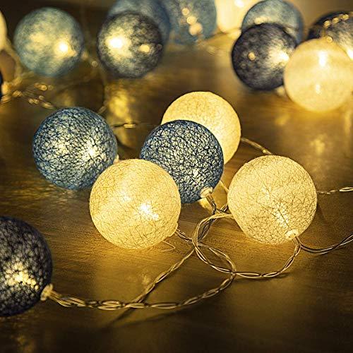 GIGALUMI Blue Cotton Ball String Lights 20 Warm White...