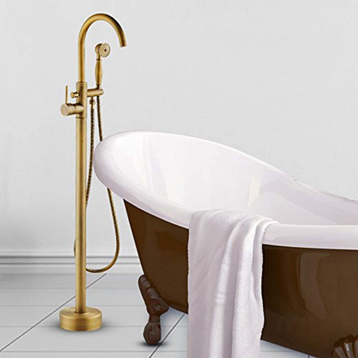 HUASAA Luxury Antique Brass Bathroom Tub Faucet Swivel Spout Filler Standing w Waterproof Platform Base Mixer Tap Hot and Cold