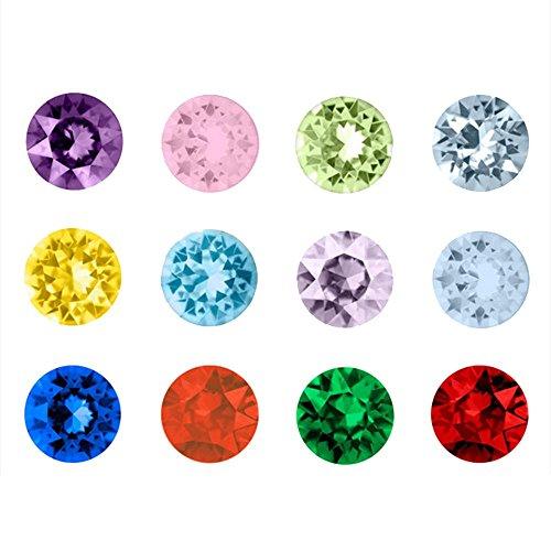 Contever® 1 Packung mit 120 Pc Assorted Mix 12 Farben Birthstone Kristall Charms 5mm für Living Memory Locket Medaillon (Floating Anhänger nicht einschließlich) - Runde Shaped