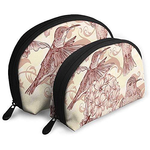 Vögel und Blumen Monochrome Nostalgie Tragbare Taschen Kosmetiktasche Kulturbeutel Tragbare Multifunktionsreisetaschen Kleine Kosmetiktasche