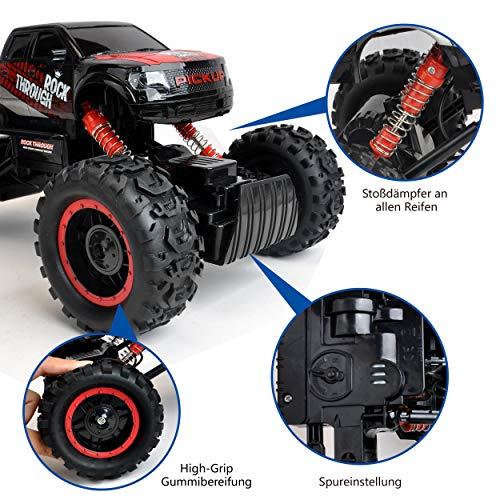 RC Auto kaufen Crawler Bild 3: Maximum RC Ferngesteuertes Auto für Kinder - 4WD Monstertruck - XL RC Auto für Kinder ab 8 Jahren - Rock Crawler (rot)*