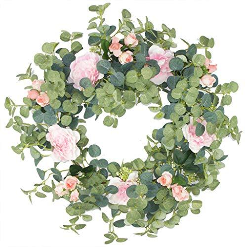 6Wcveuebuc Guirnalda artificial hecha a mano de flor de eucalipto para puerta delantera, pared, boda, fiesta, decoración del hogar