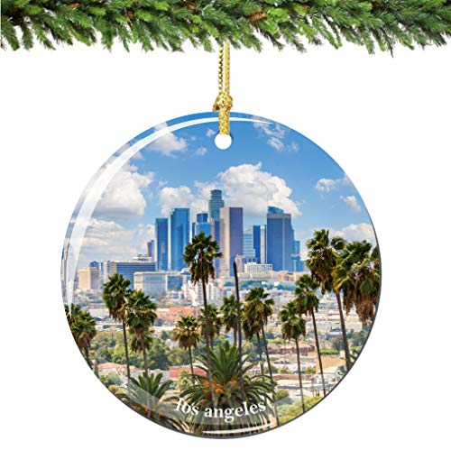 City-Souvenirs Los Angeles Skyline Christmas Ornament Porcelain Double Sided 2.75 Inches