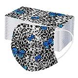 YpingLonk 50/100PC Unisex Adulto Protector Leopardo Mariposa Bufanda - Moda Universal Lindo impresión 3 Capas Suave elástico Earloop Bufanda para Mujeres Hombres -21203-13