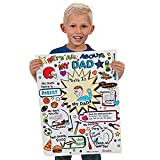 """4E's Novelty Father Day Crafts for Kids to Make (15 Pack) Color Your Own """"All About Dad"""" Card Poster Huge 17"""