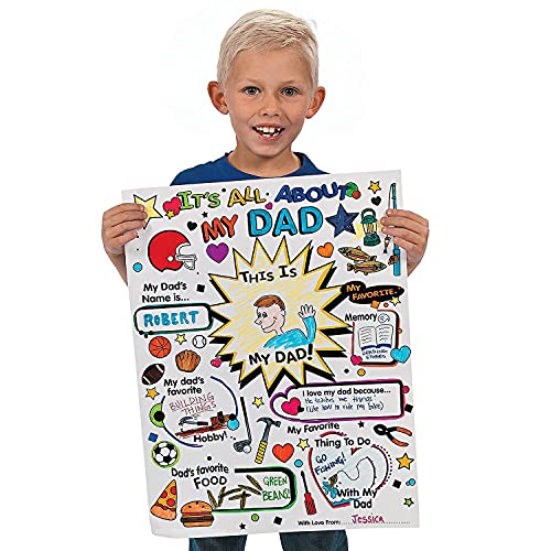 """4E's Novelty Father Day Crafts for Kids to Make (15 Pack) Color Your Own """"All About Dad"""" Card Poster Huge 17' x 22' - Bulk DIY Gift for Dad Classroom Craft Sunday School Daycare"""