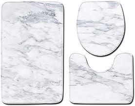 ESUPPORT Marble Texture Bath Rug Set 3 Piece Non Slip Bathroom Mats, Toilet Lid Cover, U Shaped Contour Rug Carpet Soft Ba...