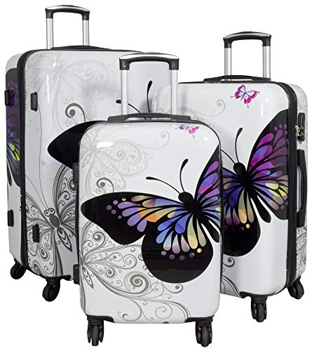 Trendyshop365 Hartschale Koffer-Set Butterfly Schmetterling 3-teilig Weiß