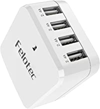 USB Wall Charger, Felotec 4-Port 48W/9.6A Rapid Travel Power Adapter with US Foldable Plug, Smart Technology Fast Charger Plug for Apple iPhone,iPad,Samsung, Android Phones, Tablets & More