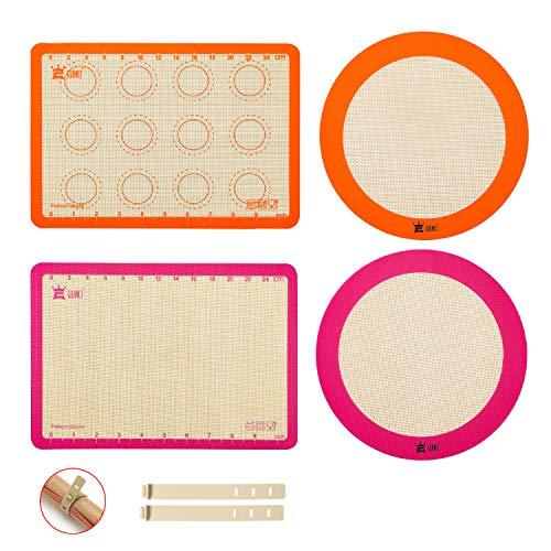 4-Piece Silicone Baking Mat Set,GUANCI 2PCS 11-3/4' x 8-1/4' Rolling Macaron Baking Mat&2PCS 9'round Pizza Baking Mat for Bake Pans,break Macaroon/Pizza/Cookie Making,Orange&Purple