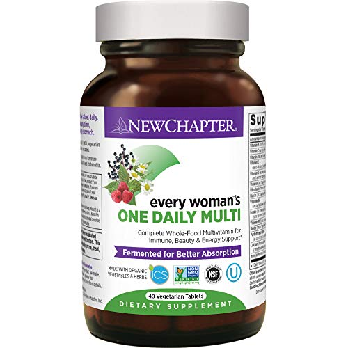 Women's Multivitamin + Immune Support – New Chapter Every Woman's One Daily, Fermented with Whole Foods & Probiotics + Iron + B Vitamins + Organic Non-GMO Ingredients - 48 Ct (Packaging May Vary)