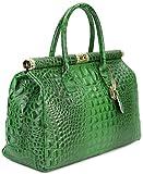 Belli 'The Bag XXL Leder Henkeltasche Handtasche Damen Ledertasche Umhängetasche in grün kroko -...