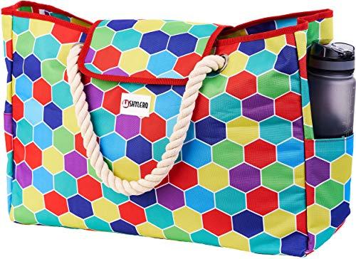 Strandtasche und Pooltasche - 100% wasserdicht - Handyhülle - Seilgriffe - Magnetverschluss oben - Außentaschen