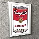 ポスター アンディ ウォーホル 特別額装マット作品/アートポスター/Campbell Soup I Black Bean 1968(アンディ ウォーホル) 額装品 アルミ製ベーシックフレーム(シルバー)
