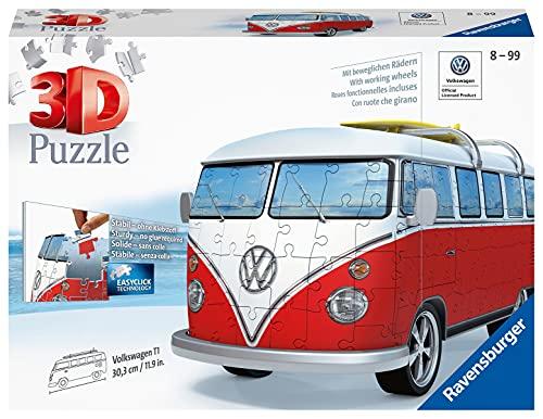 Ravensburger 3D Puzzle 12531 - Volkswagen T1 - 3D Puzzle für Erwachsene und Kinder ab 10 Jahren, VW Bulli Modellauto, Modellbau ganz ohne Kleber [Exklusiv bei Amazon]