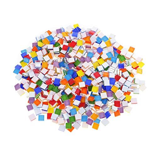 N/H Azulejos de mosaico de cristal, 450 piezas de mosaico de cristal de color mezclado para manualidades, decoración de paredes