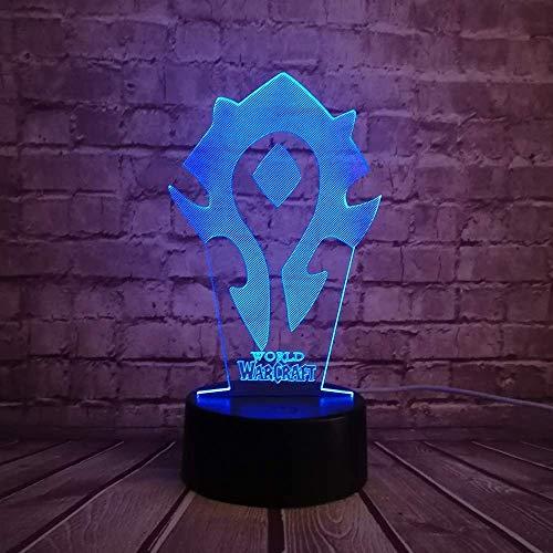 Nuevo juego de lámparas 3D Wow World of Warcraft Tribal Signs 7 Mesa de escritorio en color Led Night Light Niños Niños Holiday Xmas Illusion Regalo único