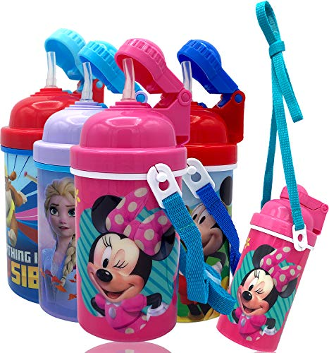 Disney Minnie Carrying Strap One Touch Water Bottles with Reusable Built in Straw - Safe Approved BPA free, Easy to Clean, Perfect Gifts for Kids Girls Boys, Goodies Home Travel