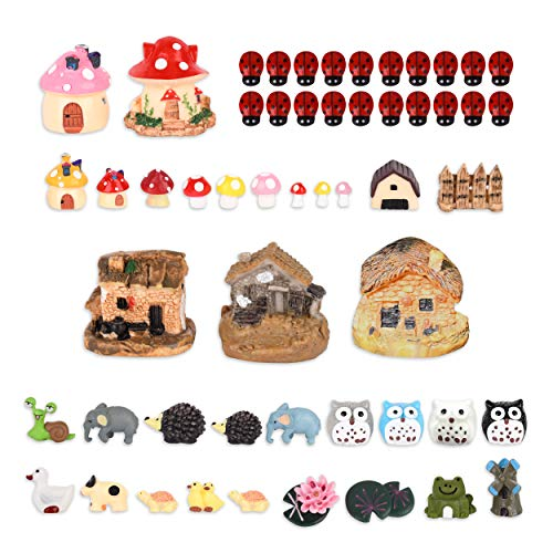 VAINECHAY 54pcs Mini Garden Ornaments Outdoor Decoration Fairy Figurine Garden Miniature Ornament Accessories Home Outdoor Statues Mushroom House Gift Resin Ladybug Hedgehog Owl Dwelling