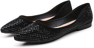 [Date U] ローカット パンプス レディース フラットシューズ ポインテッドトゥ 春夏靴 ラインストーン キラキラ オシャレ 美脚 折りたたみ 通気性 ヒールなし 歩きやすい 走れる 低反発 黒色 ピンク アプリコット
