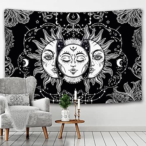 GermYan Mandala Tapiz Blanco Negro Sol y Luna Tapiz Colgante de Pared Tapiz Bagua Tapiz Hippie Dormitorio Decoración Manta 150 * 200Cm