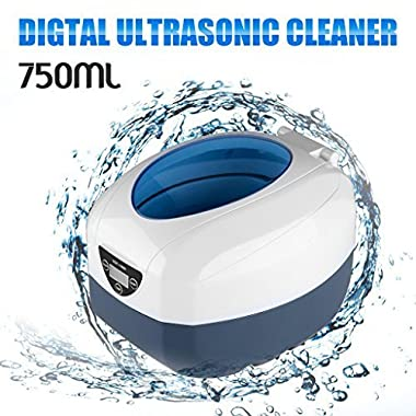 Floureon 750 Milliliter Jewelry Cleaner 5 Timer Setting 8mins Longer LED Auto Shut Off Ultrasonic Cleaner for Polishing Jewelry Rings Necklace Eyeglass Watches Razors Denture Coins Parts(40W,42KHz)
