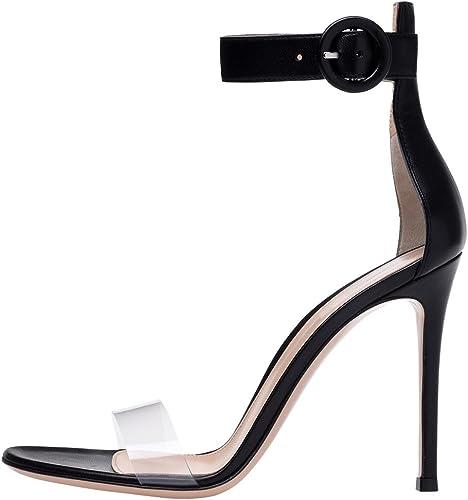 SYYAN Femmes PVC Transparent Bout Bout Ouvert Manuel Pompe Robe Sandales Noir Blanc, noir, 39
