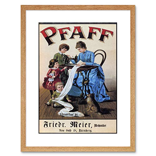 9x7 '' Vintage PFAFF Sewing Machine Vintage Retro AD Framed Art Print F97X1705