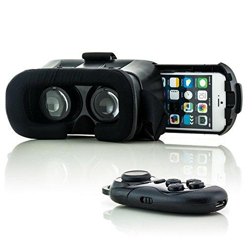 Saxonia VR Box Virtual Reality 3D-Brille + Bluetooth Gamepad Schwarz für Apple iPhone 4 4S 5 5S 5C 6 6S Plus | Universal Virtuelle Realität Headset Gaming Video