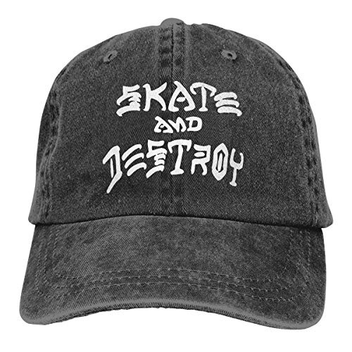 Hombre Mujer Gorras de béisbol, Baseball Cap Hat Skate and Destroy Summer Jean Snapback Cap for Men
