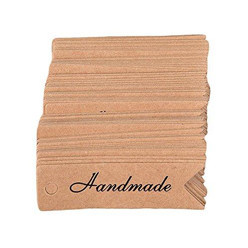 geshiglobal 100pcs Grazie a Mano Lettere di Carta Prezzo Tag Gift Decor Etichetta segnalibri, Khaki, Handmade