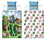 Character World Juego de ropa de cama reversible Minecraft, 135 x 200 cm + 80 x 80 cm, 100% algodón, verde, diseño Craft Block TNT y Spitzhacke Battle, multicolor