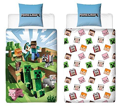 Character World Juego de cama reversible Minecraft, 135 x 200 cm + 80 x 80 cm, 100% algodón, verde, diseño Craft Block TNT y Spitzhacke Battle